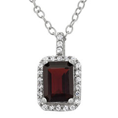 Genuine Garnet & Cubic Zirconia Sterling Silver Pendant Necklace