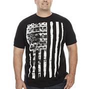 Bioworld® Short-Sleeve Distressed Flag Cotton Tee - Big & Tall