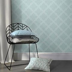 NuWallpaper Slate Blue Quatrefoil Peel and Stick Wallpaper