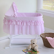 Lamont Home Good Night Baby Bassinet - Pink Gingham Half Skirt