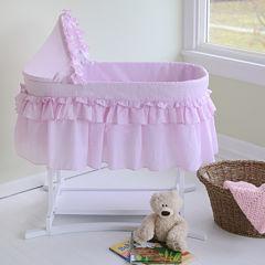 Lamont Home Good Night Baby Bassinet - Pink Gingham Half Skirt