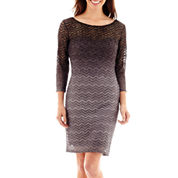 Blu Sage 3/4-Sleeve Chevron Glitter Dress