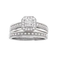 I Said Yes™ 3/8 CT. T.W. Certified Diamond Princess-Style Bridal Set
