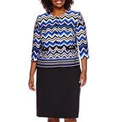 Isabella Chevron Skirt Suit Set - Plus