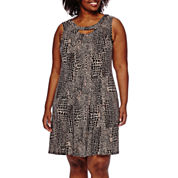 Danny & Nicole® Sleeveless Animal Fit-and-Flare Dress - Plus