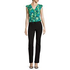 Worthington® Sleeveless Ruffle Button-Down Blouse or Straight-Leg Pants