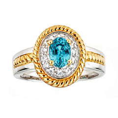 LIMITED QUANTITIES Genuine Blue Zircon Two-Tone Ring