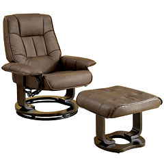 Chester Faux-Leather Swivel Lounger Chair with Ottoman