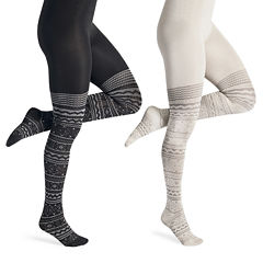 MUK LUKS® 2-pk.  Microfiber Patterned Tights