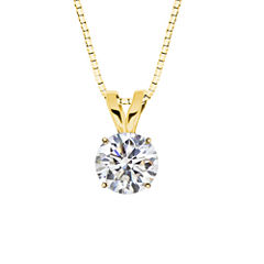 Lab-Created Round White Sapphire 10K Yellow Gold Pendant Necklace