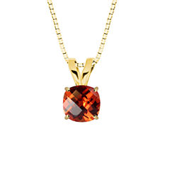 Lab-Created Checkerboard Cut Padparascha Sapphire 10K Yellow Gold Pendant Necklace