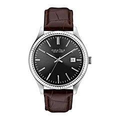Caravelle New York® Mens Brown Leather Bracelet Watch 43B132