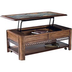 Midwest Lift-Top Rectangular Coffee Table with Slate Inlay