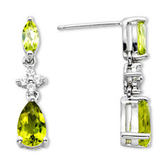 Peridot & Lab-Created White Sapphire Sterling Silver Dangle Earrings