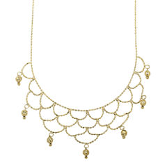 14K Yellow Gold Beaded Bib Necklace