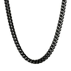 Mens Stainless Steel & Black IP Foxtail Chain