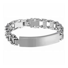 Mens Stainless Steel Railroad ID Bracelet