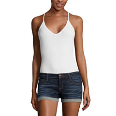 Flirtitude Sleeveless V Neck Jersey Bodysuit-Juniors