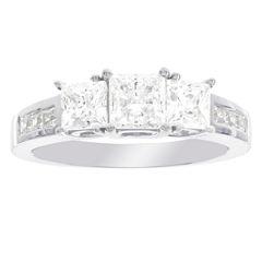 Diamonart Womens Princess White Diamonore 10K Gold 3-Stone Ring