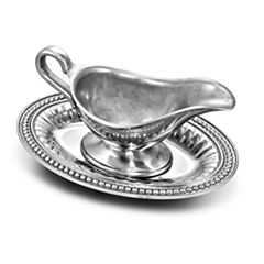 Wilton Armetale Flutes And Pearls Gravy Boat