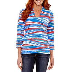 Lark Lane 3/4 Sleeve U Neck T-Shirt-Womens