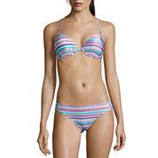 Arizona® Faded Rose Striped Push-Up Halter Swim Top or Hipster Swim Bottoms