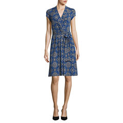 Liz Claiborne Short Sleeve Medallion Wrap Dress