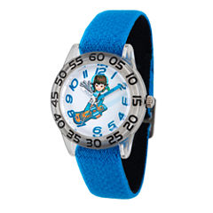Disney Boys Blue and Silver Tone Miles From Tomorrowland Time Teacher Strap Watch W003046