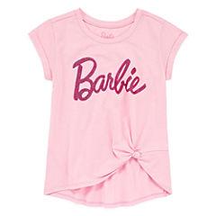 Barbie Scoop Neck Short Sleeve Fitted Sleeve Barbie Blouse - Big Kid Girls