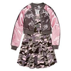 Knit Works Camo Skater Dress w/ Bomber Jacket- Girls' 7-16