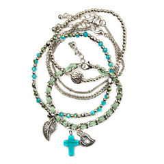 Arizona Aqua Stone 5-pc. Silver-Tone Bracelet Set
