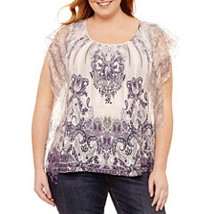 Unity World Wear Short Sleeve V Neck Knit Blouse-Plus