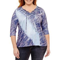 Unity World Wear 3/4 Sleeve Scoop Neck T-Shirt-Womens Plus