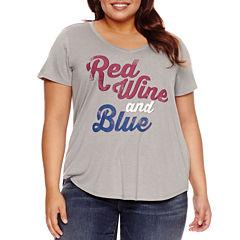 Boutique + Short Sleeve V Neck T-Shirt-Plus