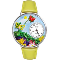 Whimsical Watches Personalized Butterfly Womens Silver-Tone Bezel Yellow Leather Strap Watch