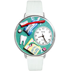 Whimsical Watches Personalized Dental Assistant Womens Silver–Tone Bezel White Leather Strap Watch