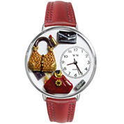 Whimsical Watches Personalized Purse Lover Womens Silver-Tone Bezel Red Leather Strap Watch
