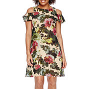 Danny & Nicole® Short Sleeve Cold Shoulder Chiffon Fit-and-Flare Dress