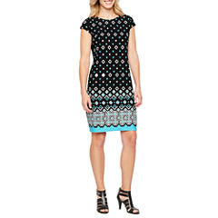 Liz Claiborne Short Sleeve Diamond Shift Dress