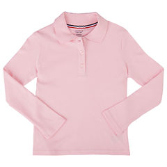 French Toast Long Sleeve Interlock Polo With Picot Collar Long Sleeve Polo Shirt - Big Kid Girls