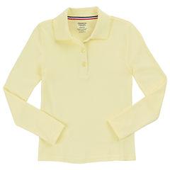 French Toast Long Sleeve Interlock Polo With Picot Collar Long Sleeve Solid Polo Shirt - Big Kid Girls