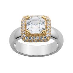 DiamonArt® 18K Gold Over Sterling Silver Cubic Zirconia Cushion-Cut Ring
