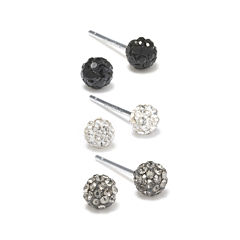 Silver Treasures Multi Color Crystal Stud Earrings