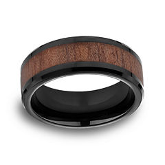 Mens Comfort Fit 8mm Black Cobalt with Rosewood Inlay Wedding Band