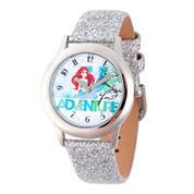 Disney Princess Girls Silver Tone Glitz Ariel Time Teacher Strap Watch W002919