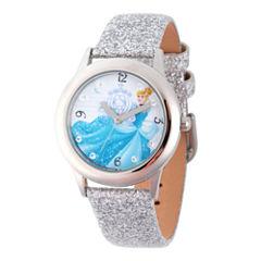 Disney Princess Girls Silver Tone Glitz Cinderella Time Teacher Strap Watch W002936