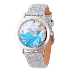 Disney Princess Girls Silver Tone Glitz Cinderella Time Teacher Strap Watch W002936