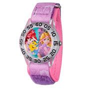 Disney Princess Girls Pink and Silver Tone Princesses Time Teacher Strap Watch W002955