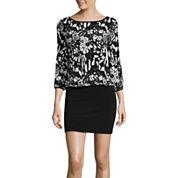 nicole by Nicole Miller® Long-Sleeve Printed Cold-Shoulder Blouson Dress