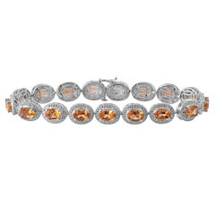 Womens Diamond Accent Orange Citrine Sterling Silver Tennis Bracelet